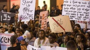 Israelis from the Ethiopian community protest in Haifa