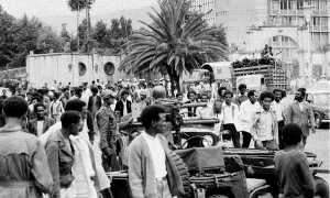 Students protest in Addis Ababa, Ethiopia, September 17, 1974, against the military committee that seized political power last week.