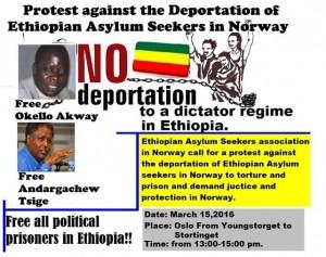 Protest against the deportation Ethiopian asylum seekers in Norway