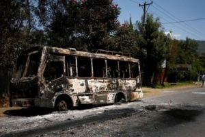 A torched bus in the Sebeta region of Ethiopia
